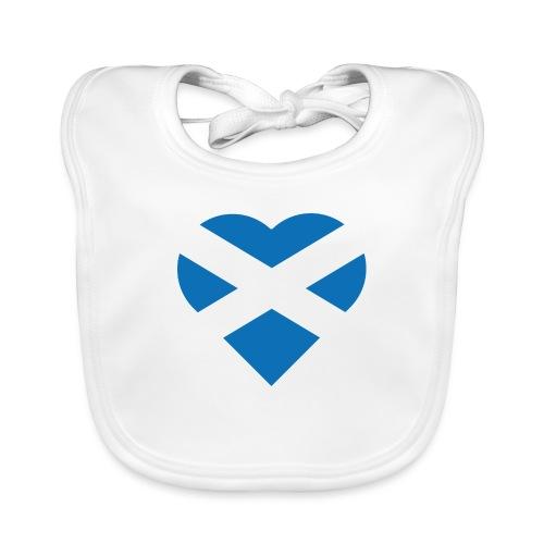 Flag of Scotland - The Saltire - heart shape - Baby Organic Bib