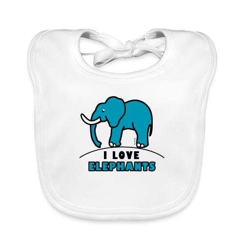 Blauer Elefant - I LOVE ELEPHANTS - Baby Bio-Lätzchen