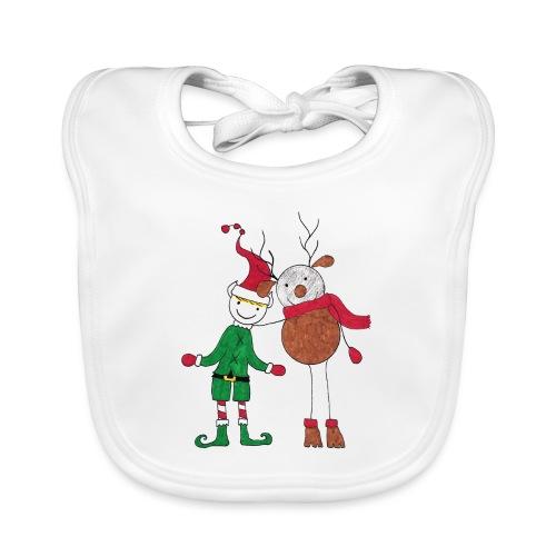 Elfo e Renna di Nonna Catia - Bavaglino ecologico per neonato