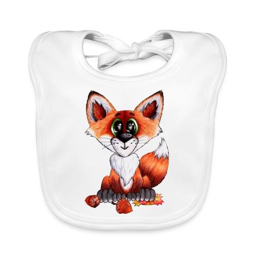 llwynogyn - a little red fox - Baby Bio-Lätzchen