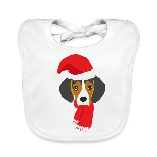 Cachorro de beagle vestido de Papa Noel - Babero de algodón orgánico para bebés
