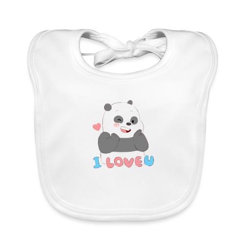 Panda Ilove you - Babero de algodón orgánico para bebés