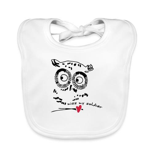 Owl Miss my soldier Vektor - Baby Bio-Lätzchen