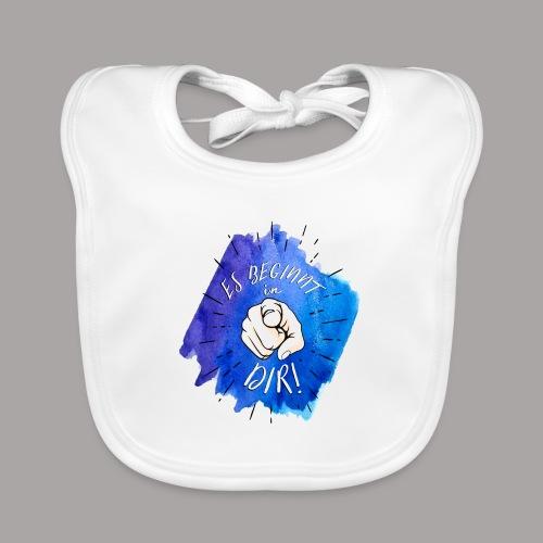 shirt blau tshirt druck - Baby Bio-Lätzchen
