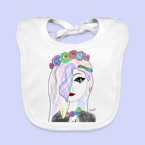 Rainbow flower girl - Female shirt - Baby økologisk hagesmæk