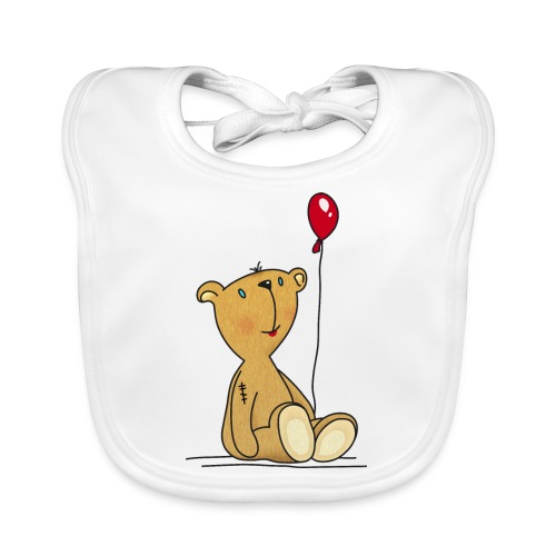 Teddybär mit rotem Luftballon Kuscheltier Kinder - Baby Organic Bib