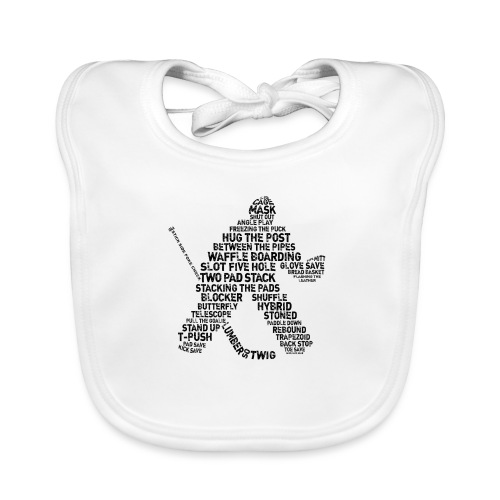 Goalie Lingo - Grunge Text Version (black print) - Organic Baby Bibs
