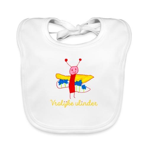 vlinder geel - Bio-slabbetje voor baby's