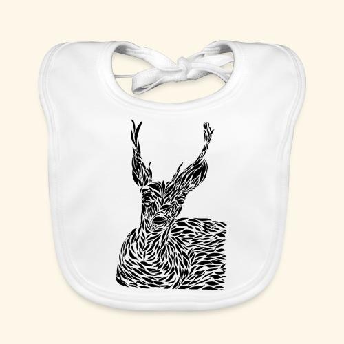 deer black and white - Vauvan luomuruokalappu