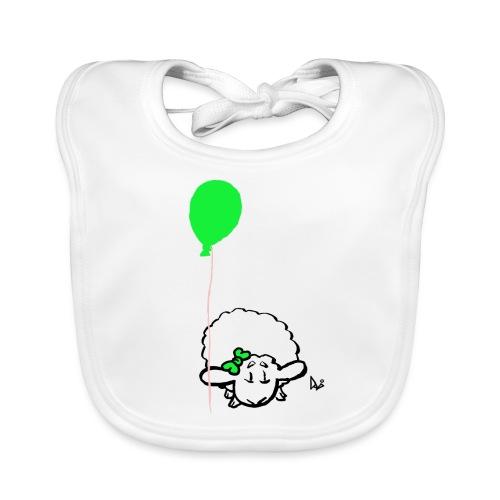 Corderito con globo (verde) - Babero de algodón orgánico para bebés