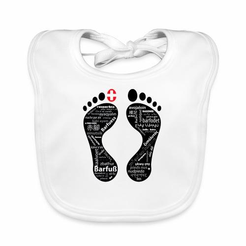 Barfuss-Logo Sprachen - Baby Bio-Lätzchen