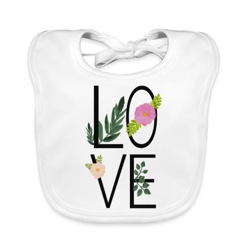 Love Sign with flowers - Baby Organic Bib