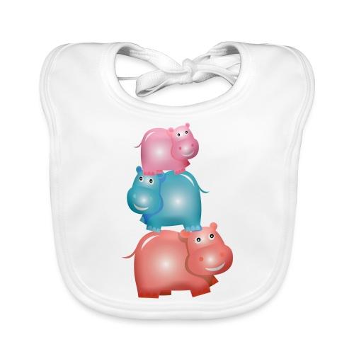 Tierturm aus drei Hippos - Baby Bio-Lätzchen