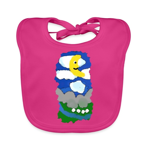 smiling moon and funny sheep - Organic Baby Bibs