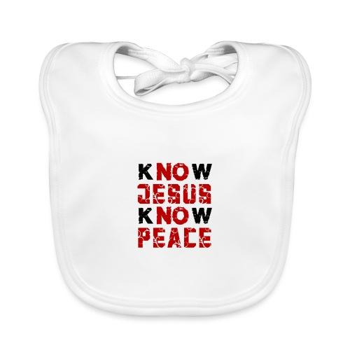 Know Jesus Know Peace (Flower Design) - Baby Bio-Lätzchen