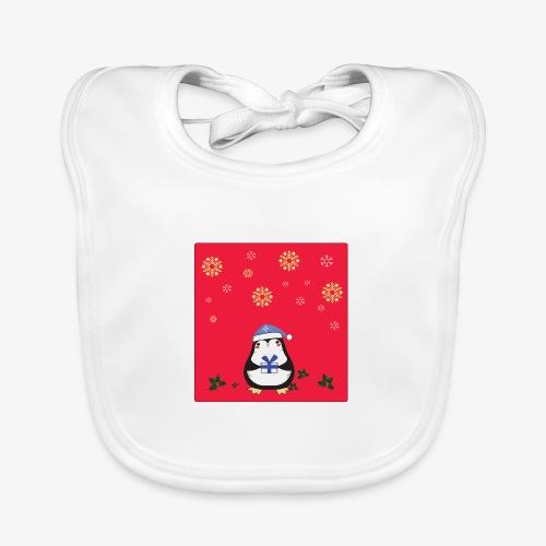 penguin red background - Baby Organic Bib