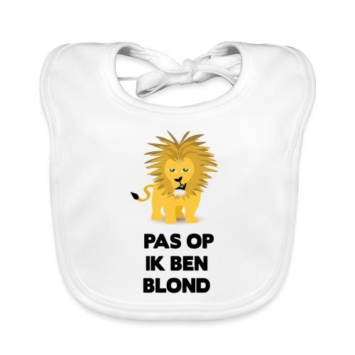 Pas op ik ben blond een cartoon van blonde leeuw - Bio-slabbetje voor baby's