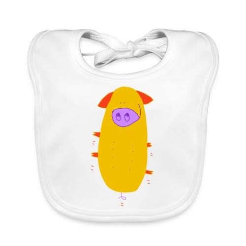springend varken - kleur / bouncing pig - colour - Bio-slabbetje voor baby's