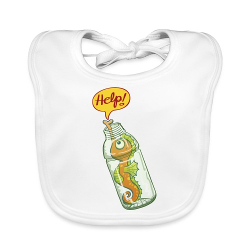 Seahorse trapped in plastic bottle asking for help - Baby Organic Bib