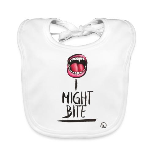 I might bite - Vampir Zähne geöffneter Mund - Baby Bio-Lätzchen