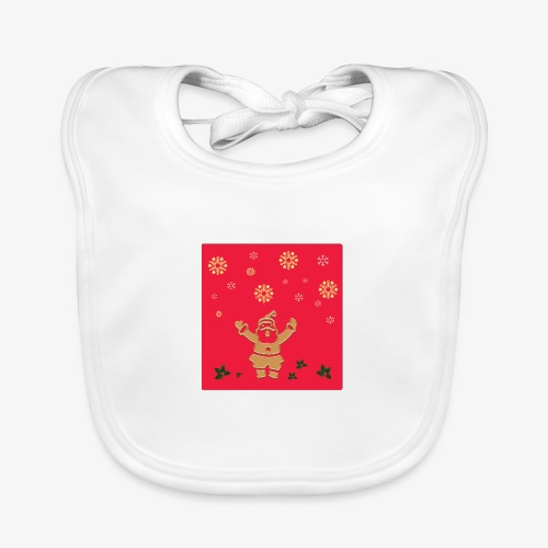 Santa Claus on a red background and snowflake - Baby Organic Bib