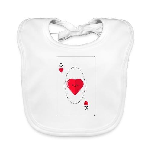 poker heart - Babero de algodón orgánico para bebés