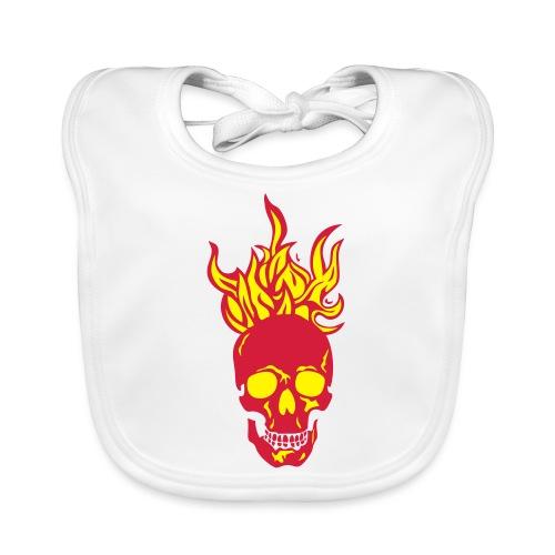 skull tete mort flamme fire dead head fe - Bavoir bio Bébé