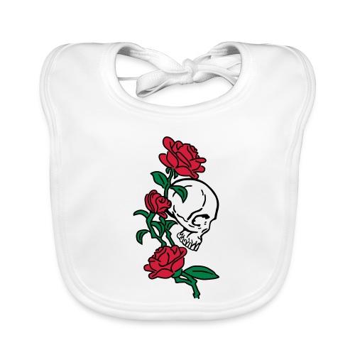 teschio e rose es123_2 - Bavaglino ecologico per neonato