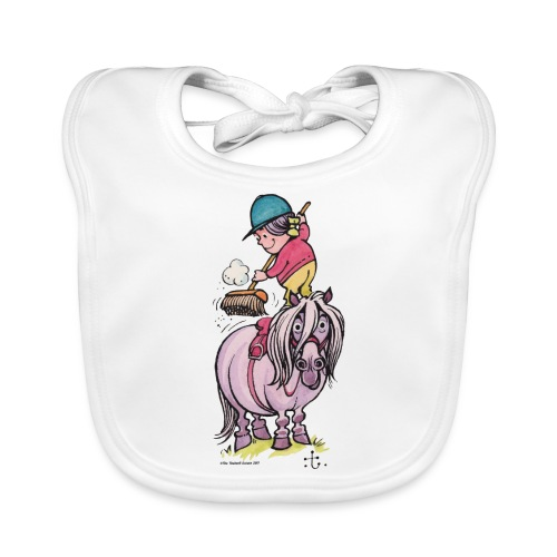 Thelwell Rider Cleaning Their Horse - Organic Baby Bibs