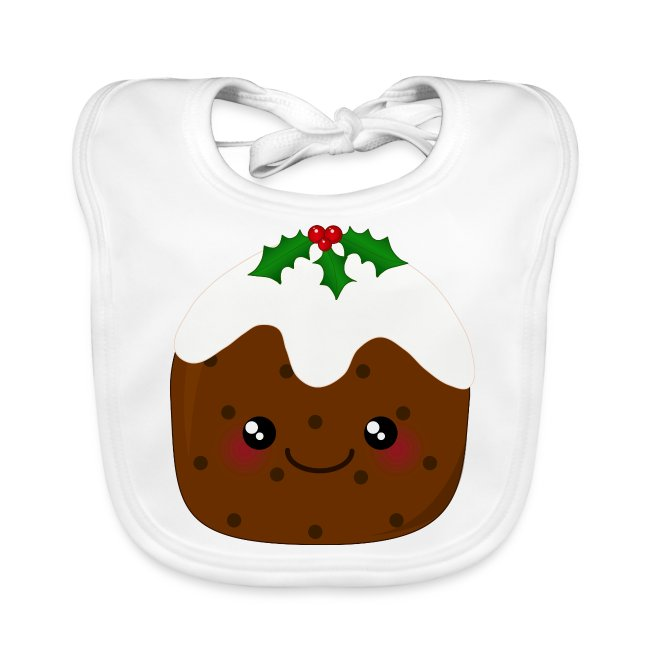 Kawaii Christmas.Cute Kawaii Christmas Pudding Baby Organic Bib
