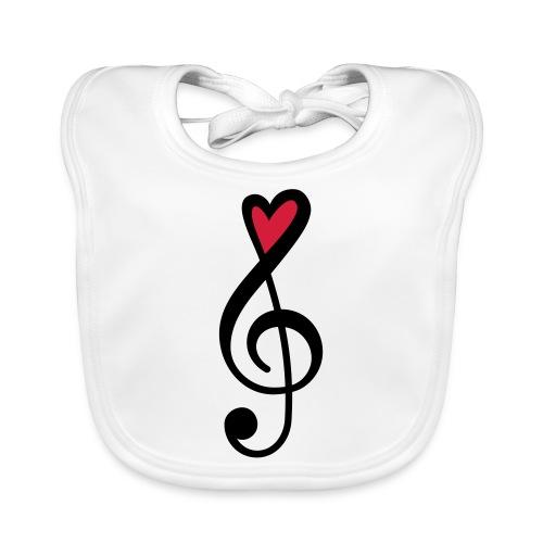 Notenschlüssel Herz rot Musik - Baby Bio-Lätzchen