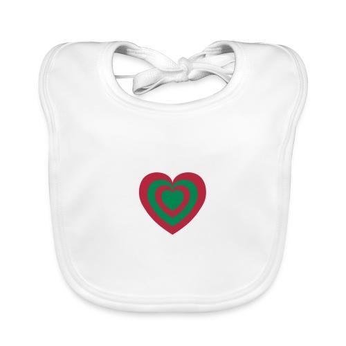 cuore Rosso-Verde - Bavaglino ecologico per neonato