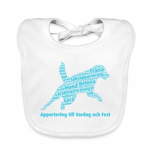 Apportering till vardag och fest wordcloud blått - Ekologisk babyhaklapp
