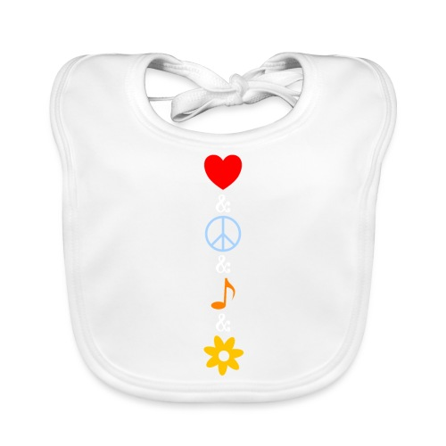 Love Peace Music Flower Hippie Summer - Baby Bio-Lätzchen