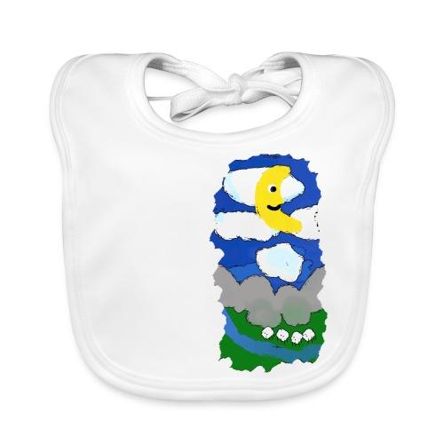 smiling moon and funny sheep - Baby Organic Bib