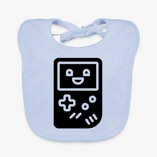 Smiling game console (black, inverted) - Baby Organic Bib