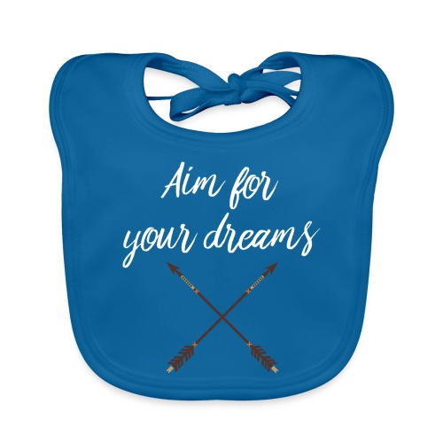 Aim for your Dreams white - Vauvan luomuruokalappu