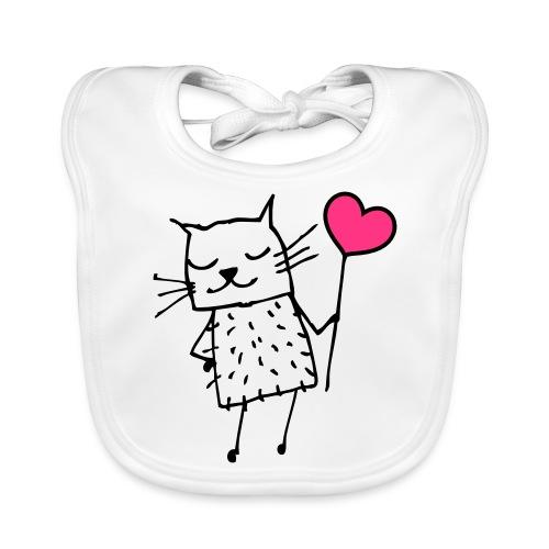Katze mit Herz: Liebe - Baby Bio-Lätzchen