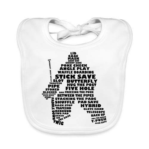 Language of Hockey (Goalie version, black print) - Baby Organic Bib