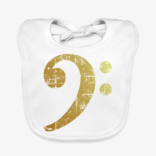 Bassschlüssel Antik Gold Bass Design (Goldgelb) - Baby Bio-Lätzchen