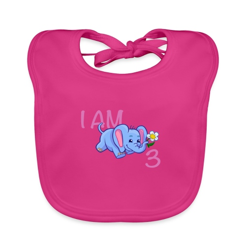 I am 3 - elephant pink - Organic Baby Bibs