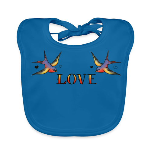 A Pair Of Swallows In Love - Baby Organic Bib
