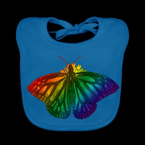 Regenboog vlinder - Freedom, Love en Happiness - Bio-slabbetje voor baby's