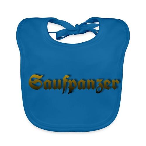Saufpanzer_Schriftzug_Gold - Baby Bio-Lätzchen