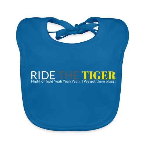 Logo Ride the tiger white-grey-yellow - Bavoir bio Bébé