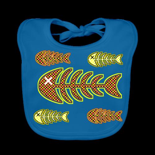 döda fiskar - ben i orange och gult - Ekologisk babyhaklapp
