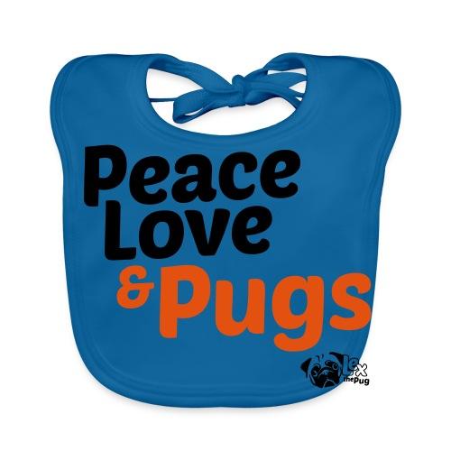 Peace Love and Pugs - Bavoir bio Bébé