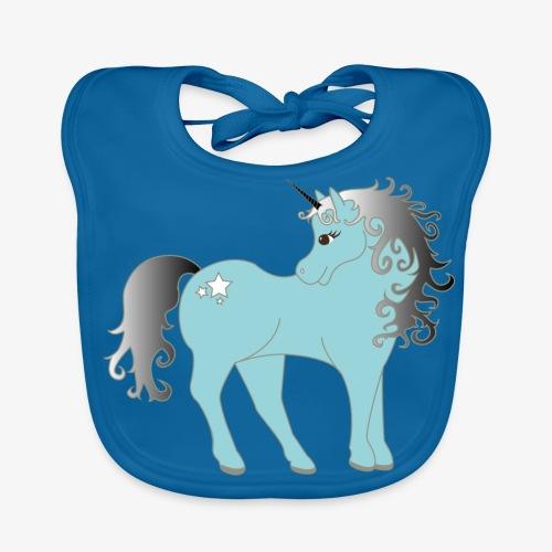 blaues Einhorn - Baby Bio-Lätzchen