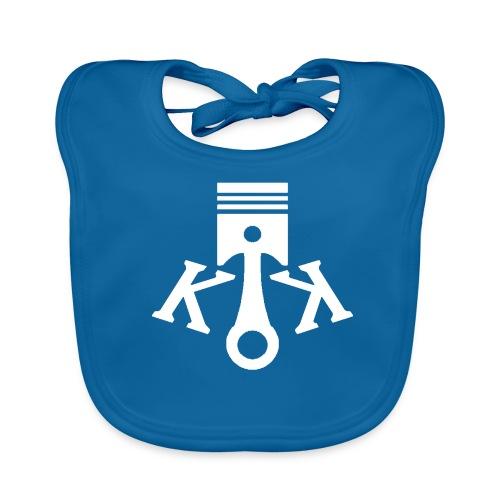 Kolbenkipper Logo weiß - Baby Bio-Lätzchen