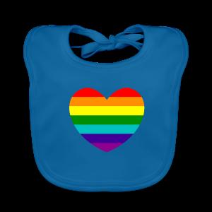 Hart in regenboog kleuren - Bio-slabbetje voor baby's